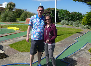 Richard and Emily Gottfried at Gilmore's Crazy Golf course in Newquay