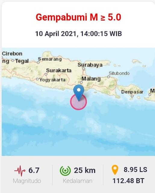Gempa bumi berkekuatan 6,7 magnitudo mengguncang Kabupaten Malang