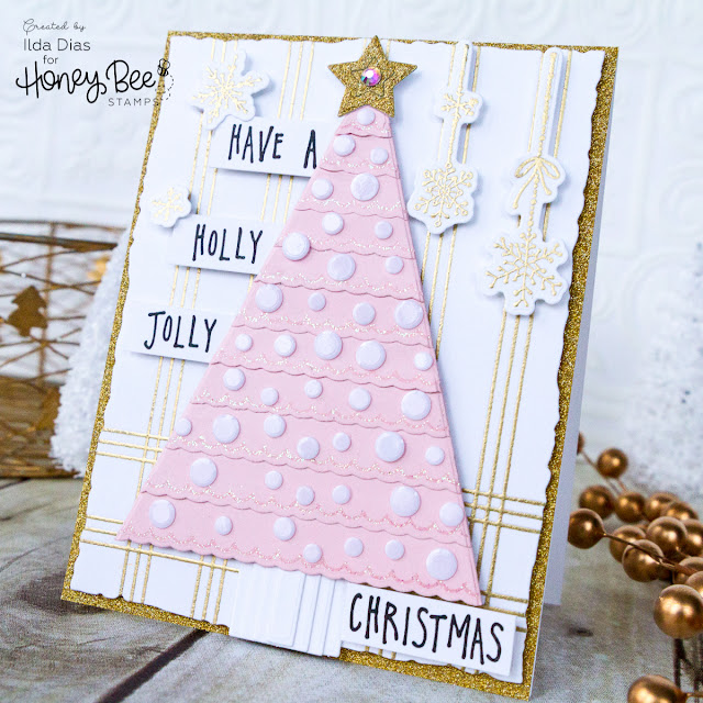 Holly Jolly Scalloped Christmas Tree Card | Honey Bee Stamps by ilovedoingallthingscrafty.com