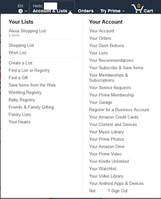 Amazon's menu options under accounts and lists