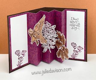 Stampin' Up! Blackberry Beauty Designer Paper Accordion Pop-Up Card + VIDEO Tutorial ~ www.juliedavison.com #stampinup