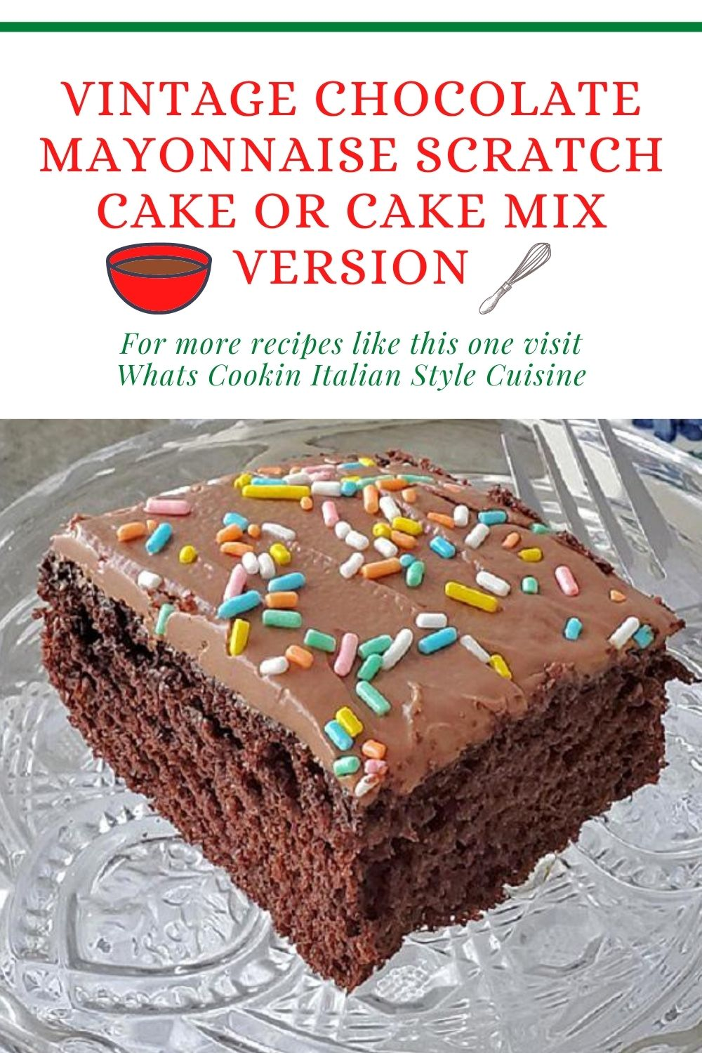 this is a pin for later slice of chocolate mayonnaise cake