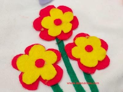 tutorial membuat bunga flanel 3d
