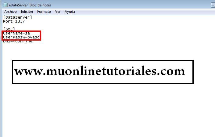 Configuración del archivo con datos de acceso SQL