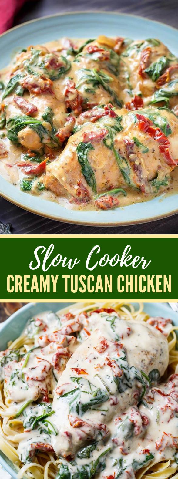 Slow Cooker Creamy Tuscan Chicken #dinner #crockpot