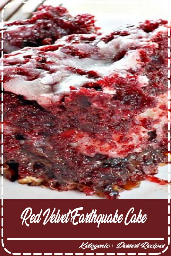 This delectable cake recipe calls for a Red Velvet cake batter and a cheesecake layer ove Red Velvet Earthquake Cake
