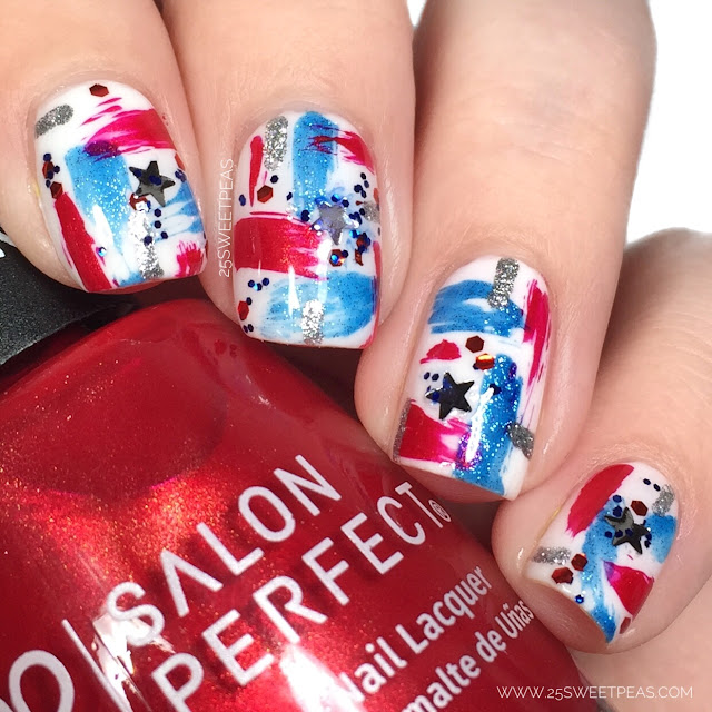 Abstract Fourth of July Nails