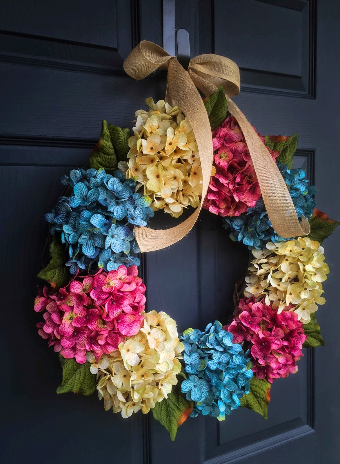 New Summer Hydrangea Wreath For Beach House Decor By Homehearthgarden