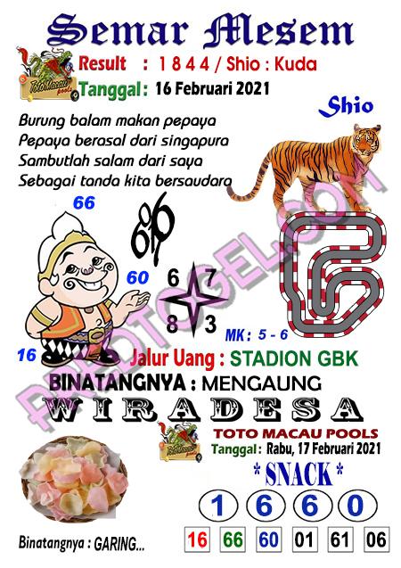 Syair Toto Macau Semar Mesem Rabu 17 Februari 2021