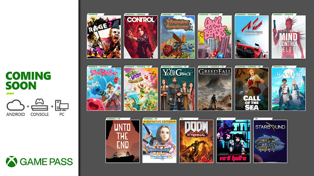 xbox game pass 2020 assetto corsa call of the sea control doom eternal dragon quest xi s echoes of an elusive age definitive edition gang beasts greedfall haven monster sanctuary rage 2 slime rancher starbound superhot: mind control delete unto the end va-11 hall-a: cyberpunk bartender action yes, your grace yooka-laylee and the impossible lair xb1