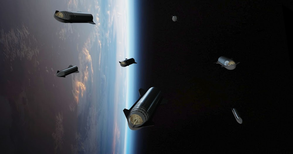 SpaceX's Starship fleet orbiting Earth by Dale Rutherford