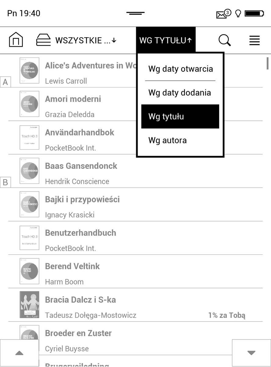 Sortowanie e-booków w PocketBook Touch HD 3
