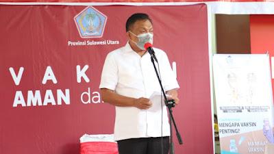 Launching Vaksinasi Covid-19 di Sulut, Gubernur Olly: Mari Kita Sama-sama Menyukseskan Tahapan Vaksinasi