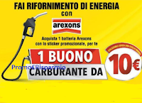 Logo Arexons ''Fai rifornimento di energia'' e ricevi buono carburante da 10€