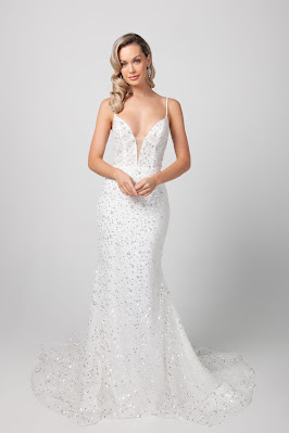 Michelle Roth STrap Beaded Fit and Flare Bridal Dress