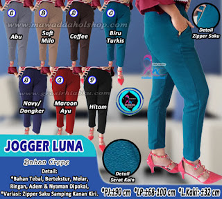 Celana jogger panjang motif bahan crepe tebal dengan variasi saku