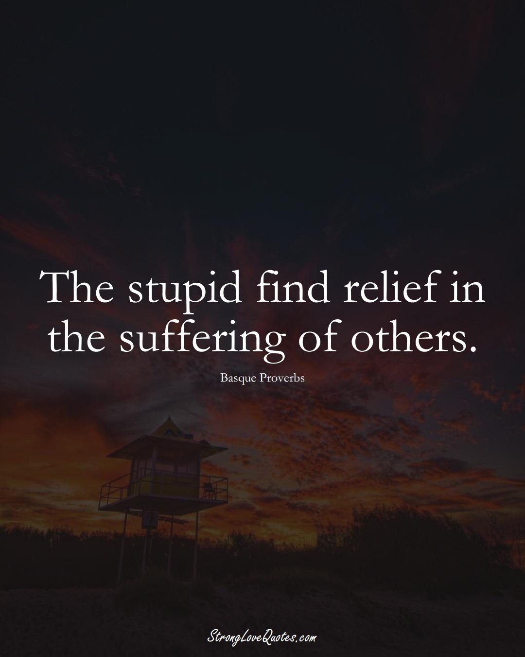 The stupid find relief in the suffering of others. (Basque Sayings);  #EuropeanSayings