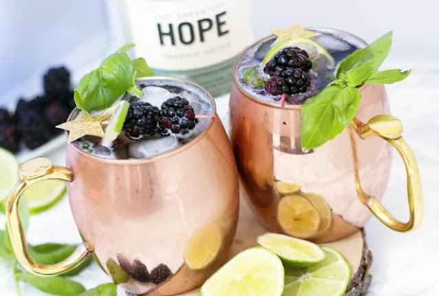 Blackberry Basil Moscow Mules #drink #alcohol