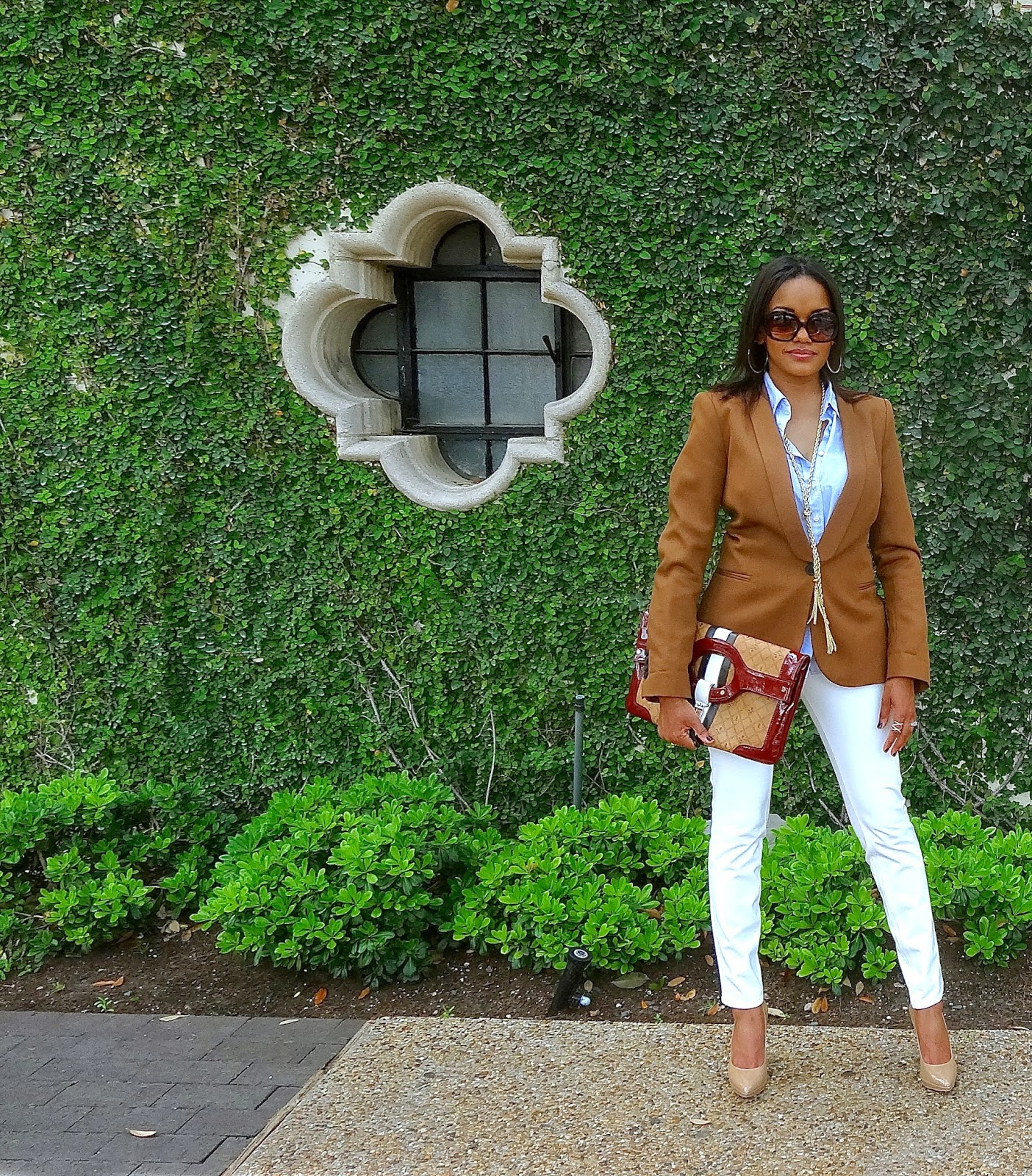 DALLAS FASHION BLOGGER, FASHION BLOGGER, DETROIT FASHION BLOGGER, DALLAS, NINE WEST LOVE FURY, H&M, WHITE JEANS, SPRING TREND, L.A.M.B., TASSEL NECKLACE, HIGHLAND PARK VILLAGE, STATEMENT BAG, ZARA BLAZER, ZARA, NUDE PUMPS