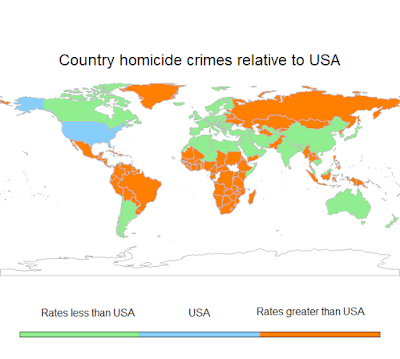Map of the word depicting countries in green which have a homicide rate less than the USA.