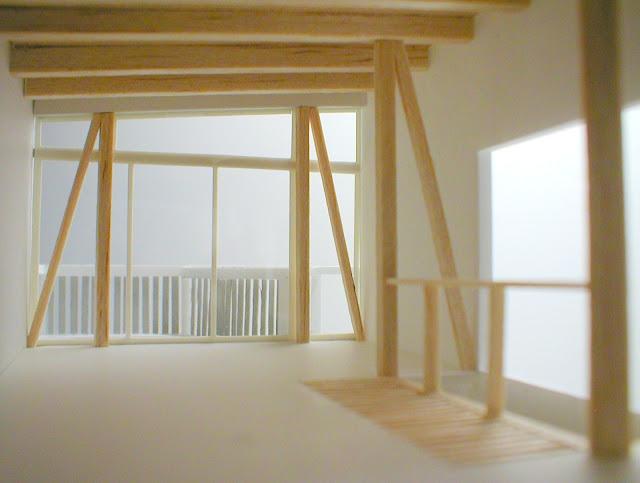 木製スクリーンとバルコニーのある三階建て狭小都市型住宅 内観模型3階