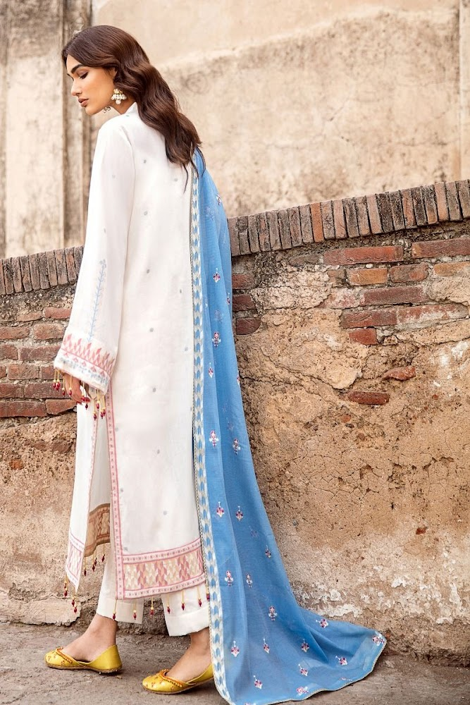 Gul Ahmed White Suit embroidered jacquard