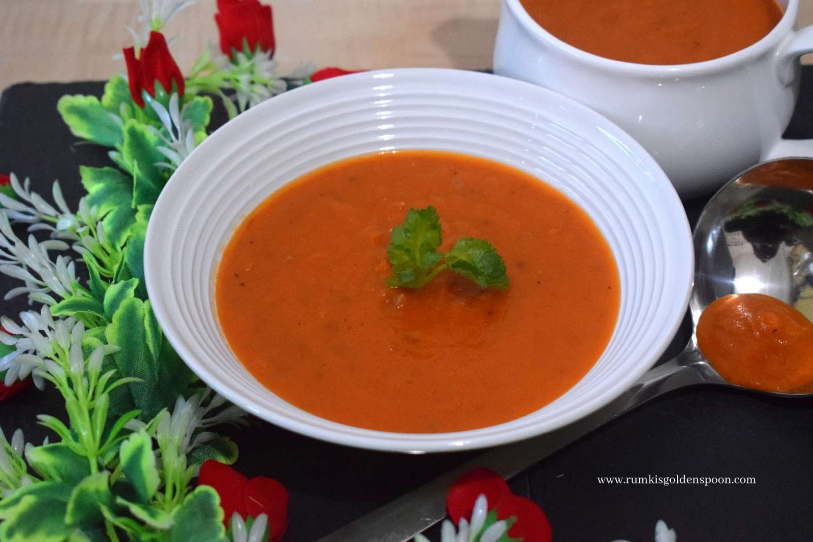 roasted red pepper and tomato soup, spicy roasted red pepper and tomato soup recipe, recipe for roasted red pepper and tomato soup, roasted red pepper and tomato soup recipe, roasted tomato and red pepper soup recipe, roasted tomato and red pepper soup, soup recipe, soup recipes, soup recipe tomato, Rumki's Golden Spoon