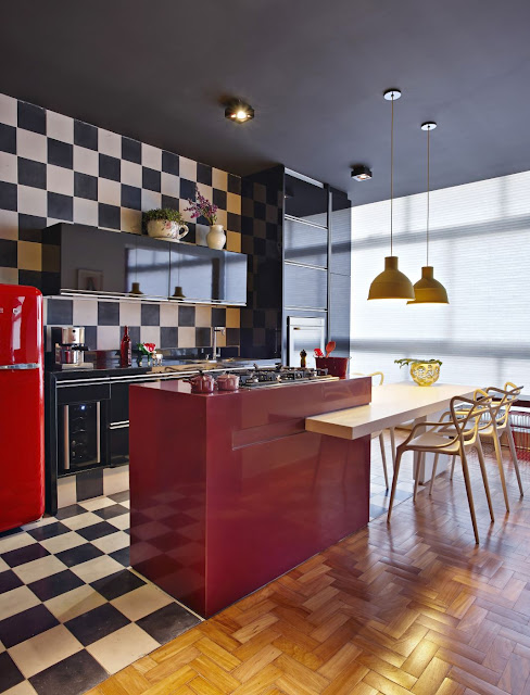 Apartamento decoração retrô em BH por Gislene Lopes. Blog Achados de Decoração