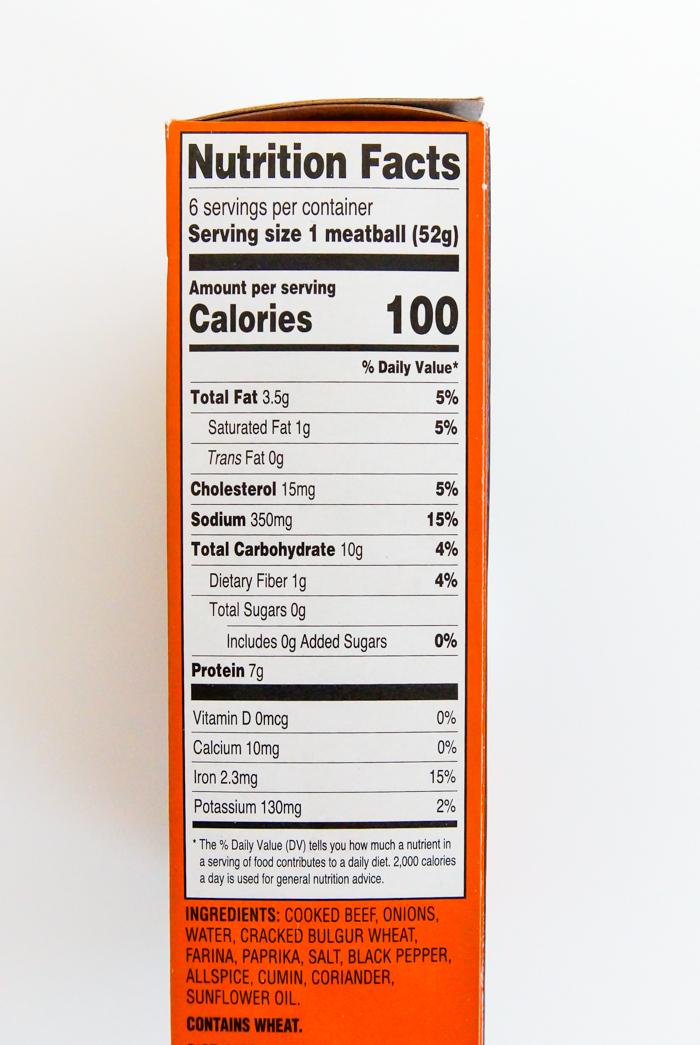 Trader Joe's Kibbeh nutrition info