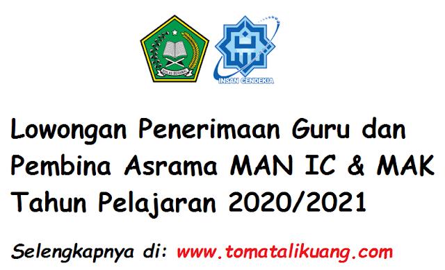 Lowongan Penerimaan Guru dan Pembina Asrama MAN IC & MAK Tahun Pelajaran 2020/2021 tomatalikuang.com