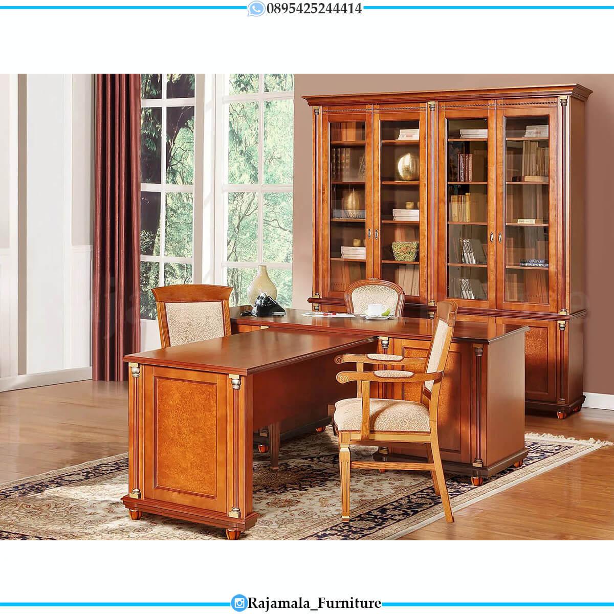 Desain Meja Kantor Mewah Jati Natural Classic Luxury Furniture Jepara RM-0575