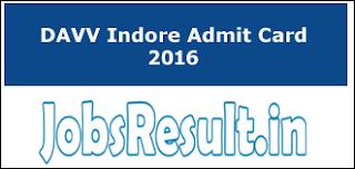 DAVV Indore Admit Card 2016