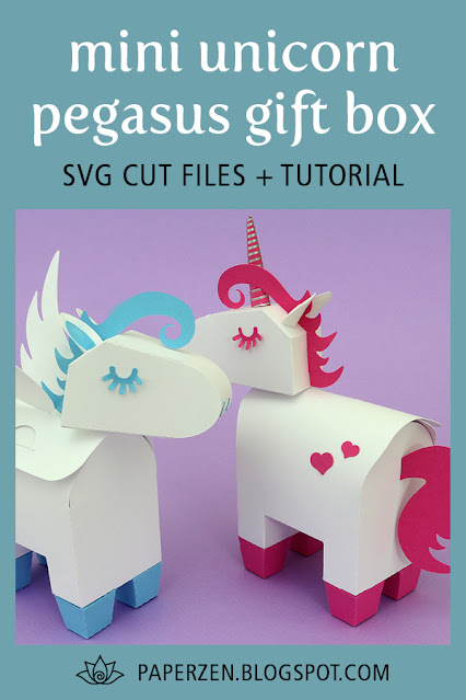 Mini Unicorn / Pegasus Party Favor Gift Box - SVG Cut Files Pattern and Tutorial
