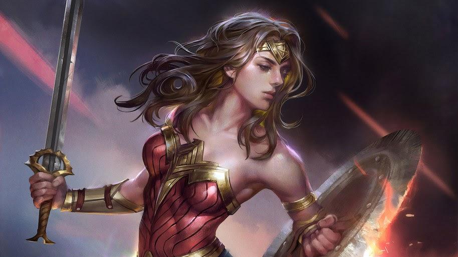 Woman Woman, Sword, Shield, DC, 4K, #233