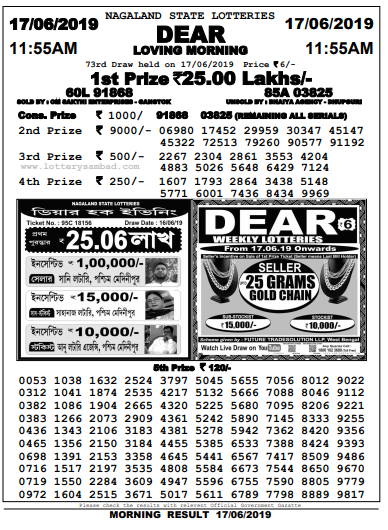 Dear Loving Morning 17-06-2019,Nagaland State Lottery Morning
