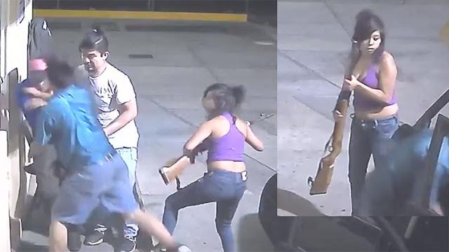 VIDEO: MUJER CON RIFLE EN MANO ENCABEZA BANDA DEDICADA AL ROBO DE GASOLINERAS