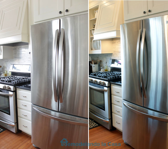 stainless steel fridge before and after cleaning it.