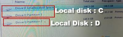 cara menentukan partisi mana yang akan di format dan di instal windows