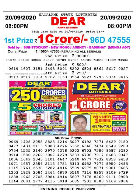 Lottery Sambad Result 20.09.2020 Dear Hawk Evening 8:00 pm