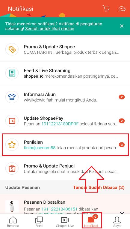Fitur Penilaian dari Pembeli di Aplikasi Marketplace Shopee di Smartphone.