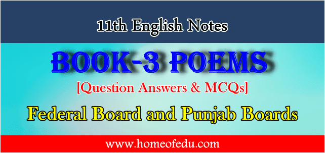 First Year English Book-III Poems Notes
