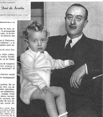 El diputado José de Acuña y Gómez de la Torre con uno de sus sobrinos en una fotografía publicada en 1936