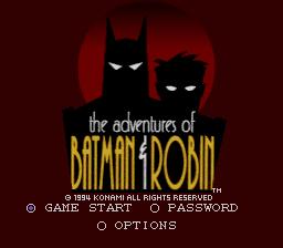 Tela inicial de Aventuras de Batman e Robin