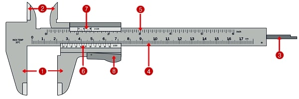 Vernier caliper-vernier caliper diagram-Vernier caliper parts