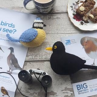 Blue tit and blackbird knitting patterns