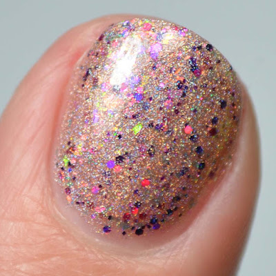 gold holographic nail polish close up swatch