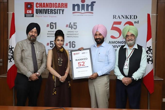 Chandigarh University 52nd among Indian Universities in NIRF University Ranking 2021