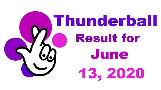 Thunderball Results for Saturday, June 13, 2020
