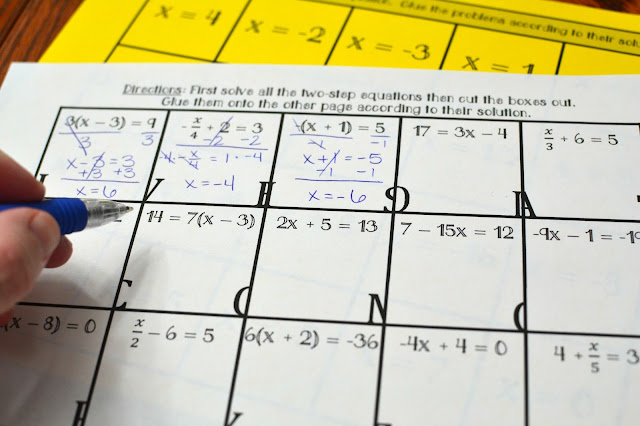 Two-Step Equations Activity