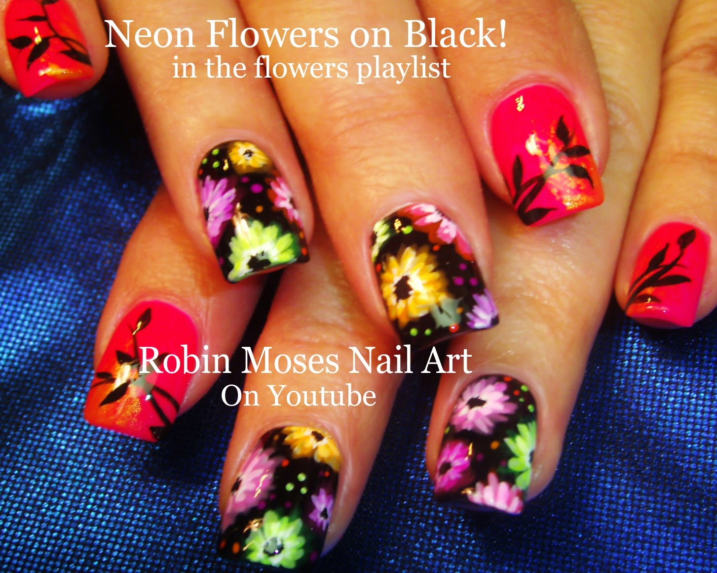 Nail Art By Robin Moses Neon Flower Nail Art To Brighten Up Your